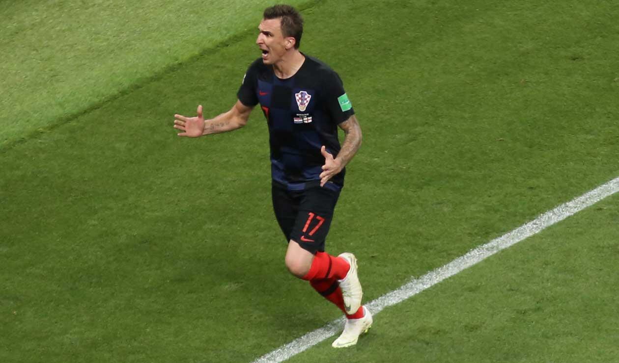 Mario Madnzukic celebra el gol de la victoria 2-1ante Inglaterra en semifinales