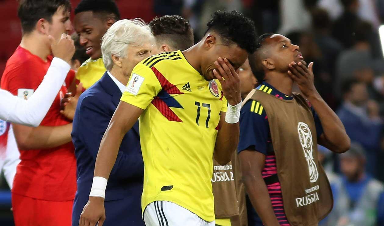 Los jugadores de Colombia lamentan la eliminación de Colombia en el Mundial