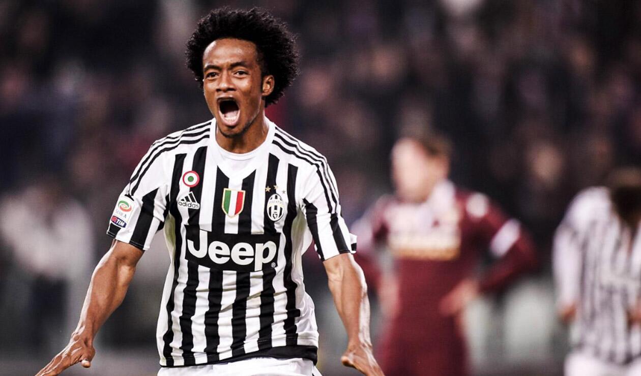 Juan Guillermo Cuadrado celebrando un gol con la Juventus
