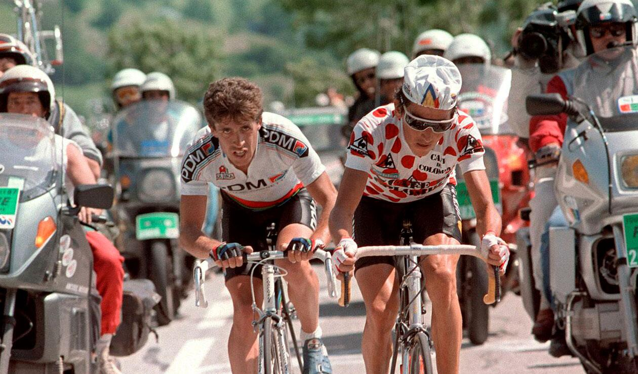 Lucho Herrera, ganador de la etapa en el ascenso al Alpe d'Huez de 1984
