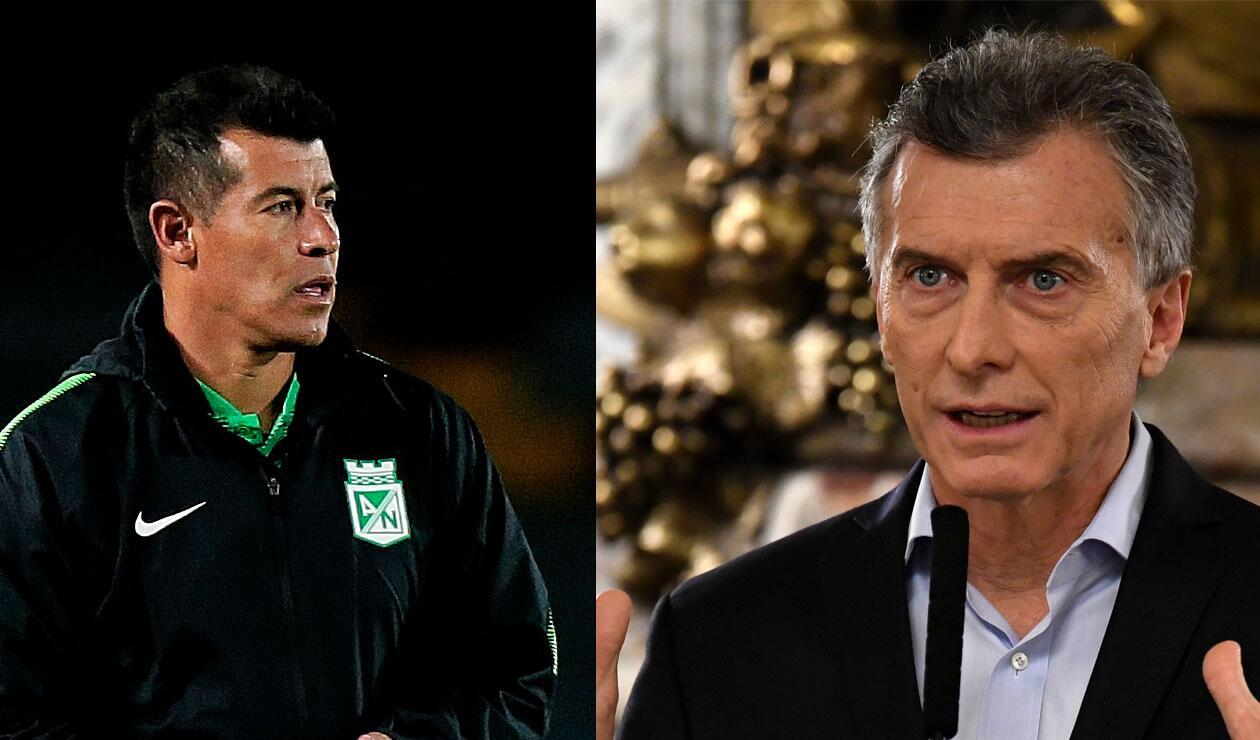 Jorge Almirón, técnico de Nacional y; Mauricio Macri, presidente de Argentina