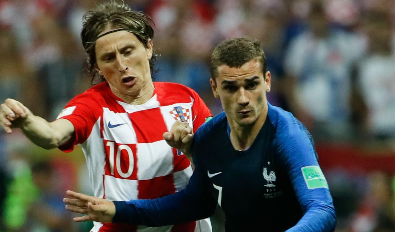Luka Modric y Antoine Griezmann con Croacia y Francia en la final de Rusia 2018