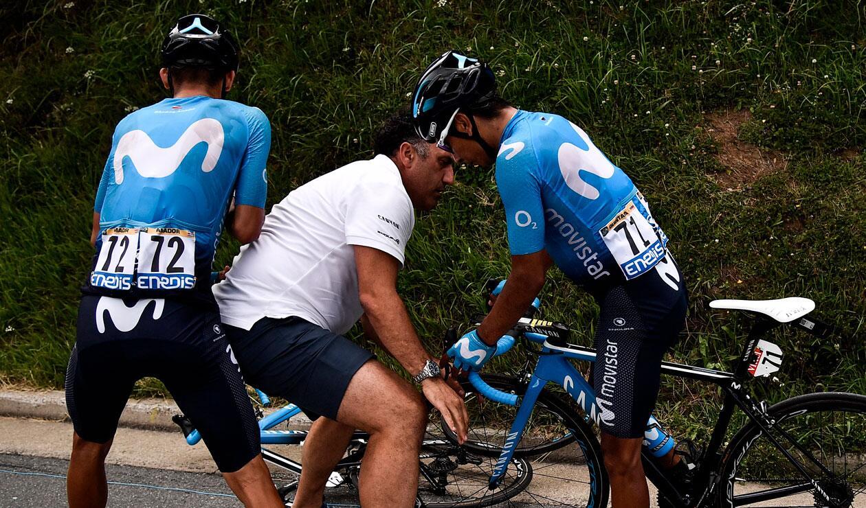 Nairo Quintana en una de las caídas sufridas en el Tour de Francia