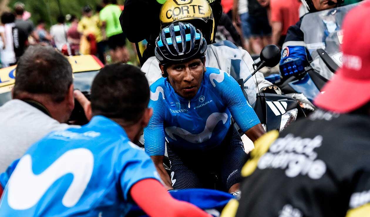 Nairo Quintana antes de llegar a la meta en la etapa 17 del Tour de Francia