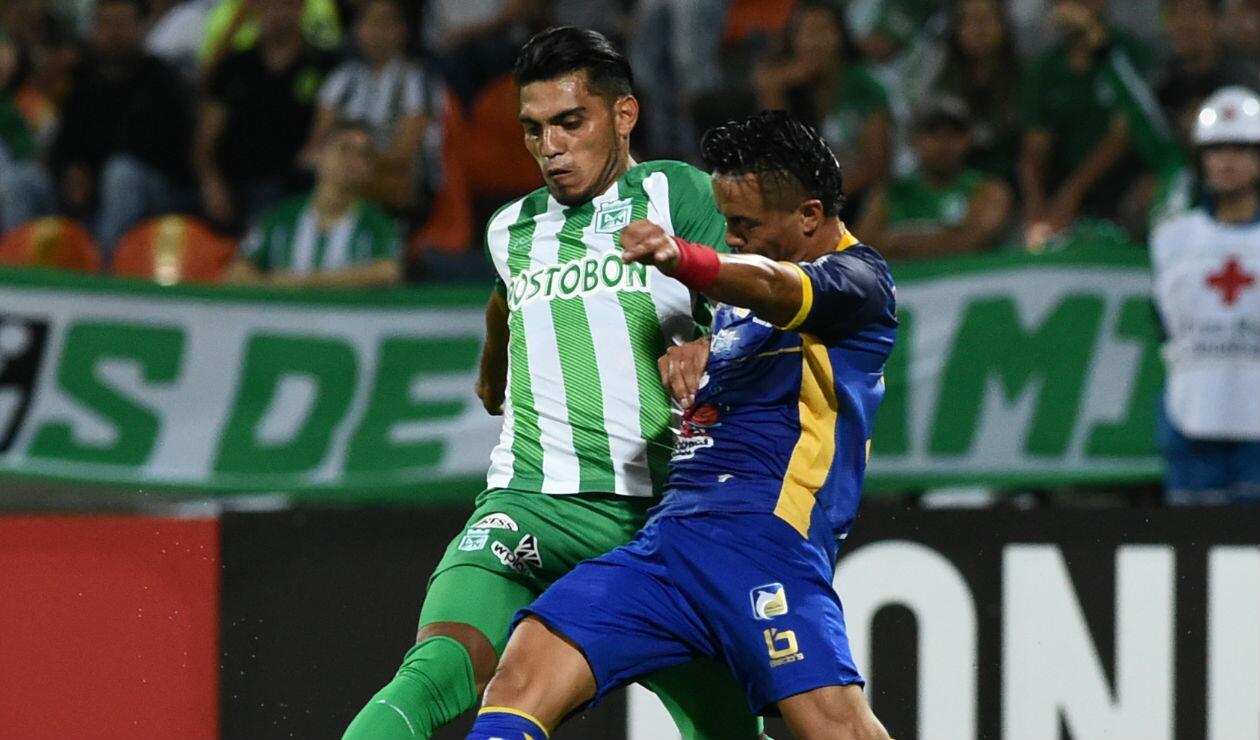 Rafael Delgado con Atlético Nacional en un juego de Copa Libertadores ante Delfín de Manta