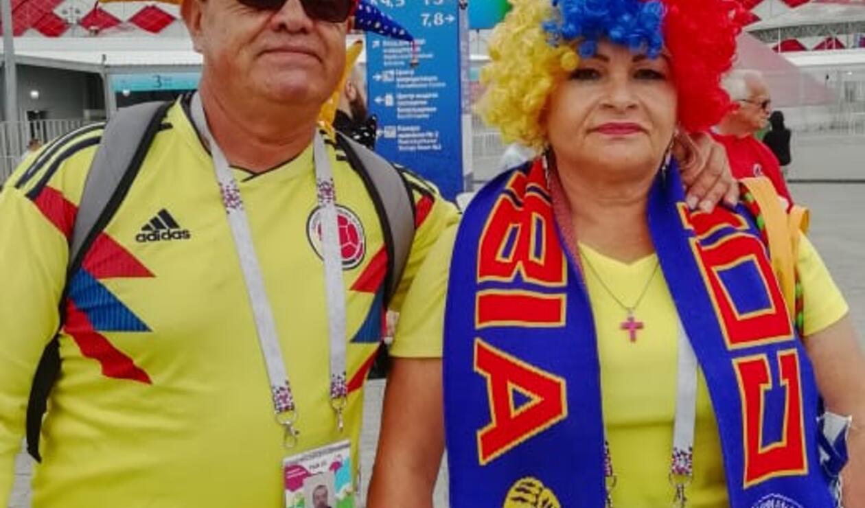 Pareja de hinchas colombianos en el Spartak Stadium