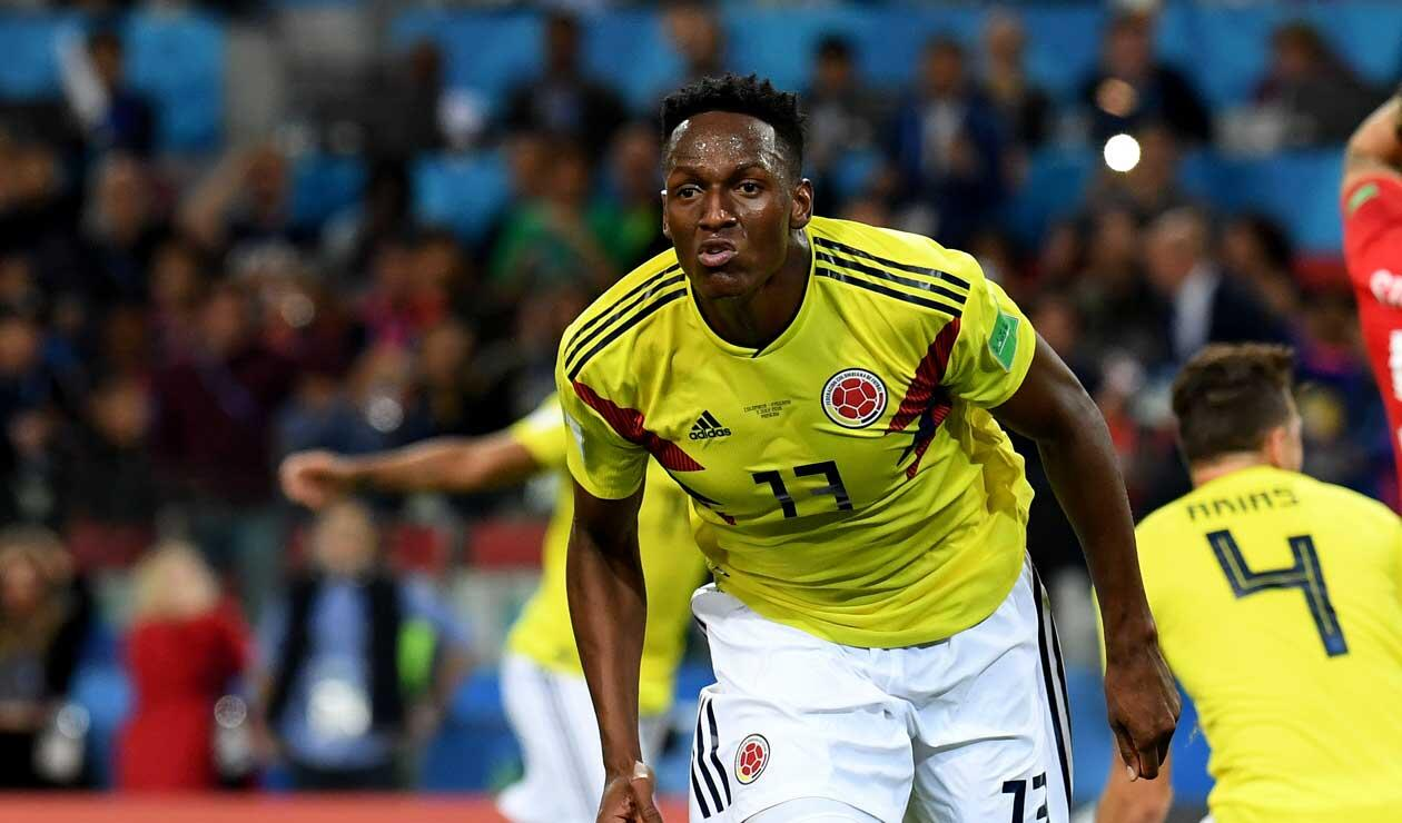 Yerry Mina celebra el gol de Colombia frente a Inglaterra