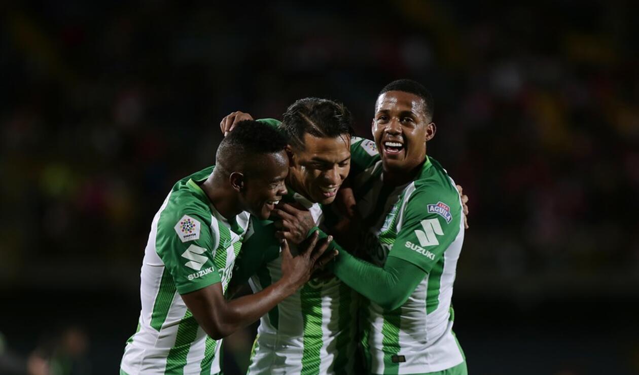 Yerson Candelo, Dayro Moreno y Jeison Lucumí de Atlético Nacional