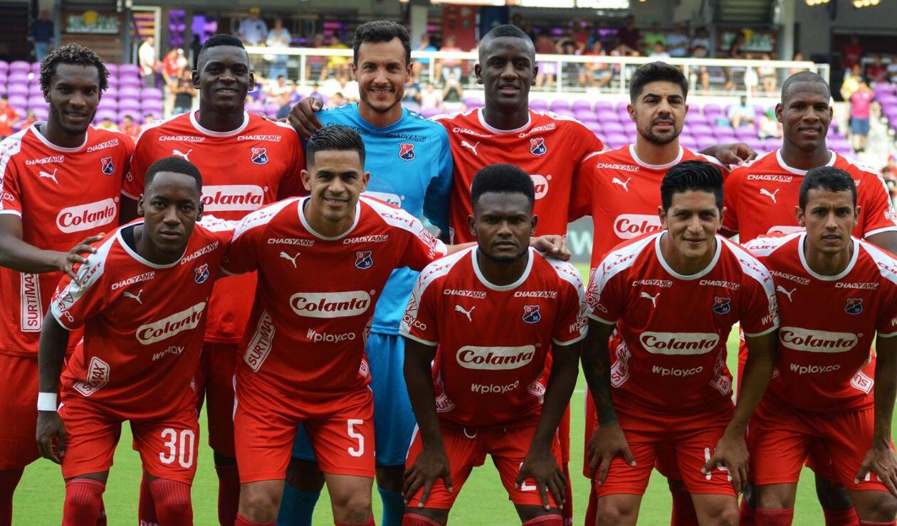 Independiente Medellín en su juego ante Boca Juniors en Estados Unidos