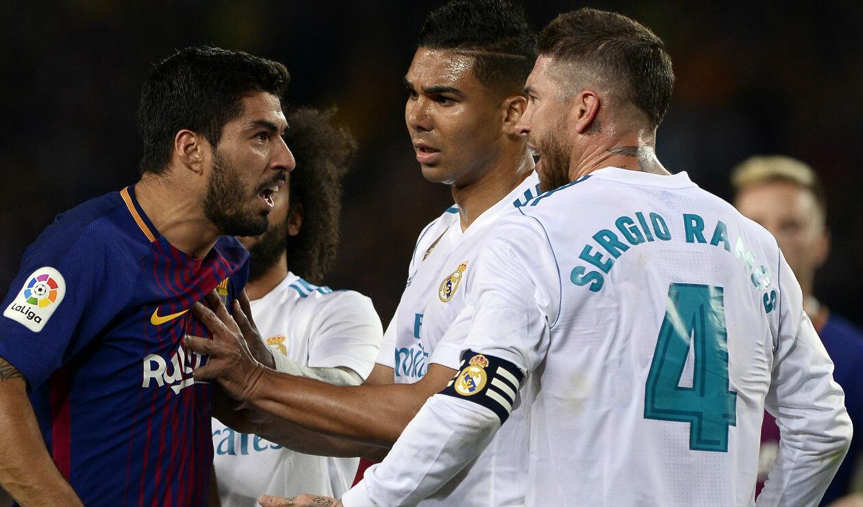 Luis Suárez (Barcelona) y Casemiro y Sergio Ramos (Real Madrid)