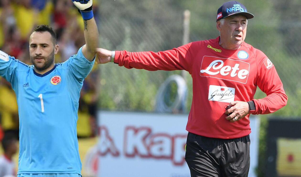 David Ospina, arquero de Colombia junto a Carlo Ancelotti, DT del Nápoles