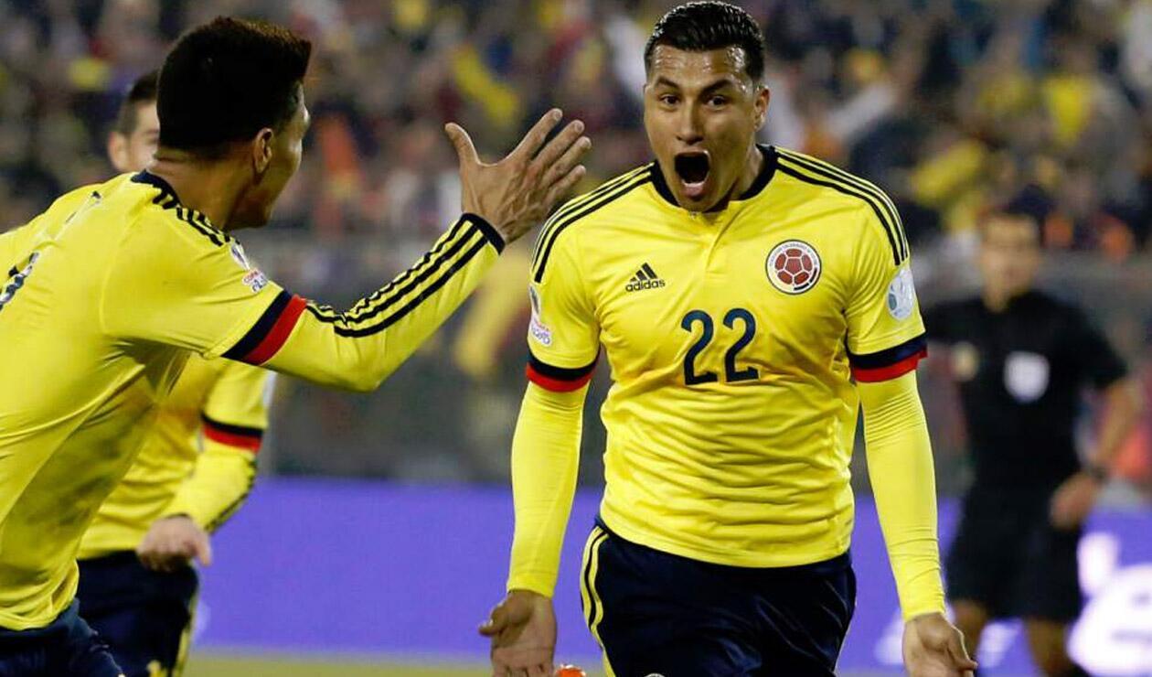 Jeison Murillo celebrando un gol con la Selección Colombia