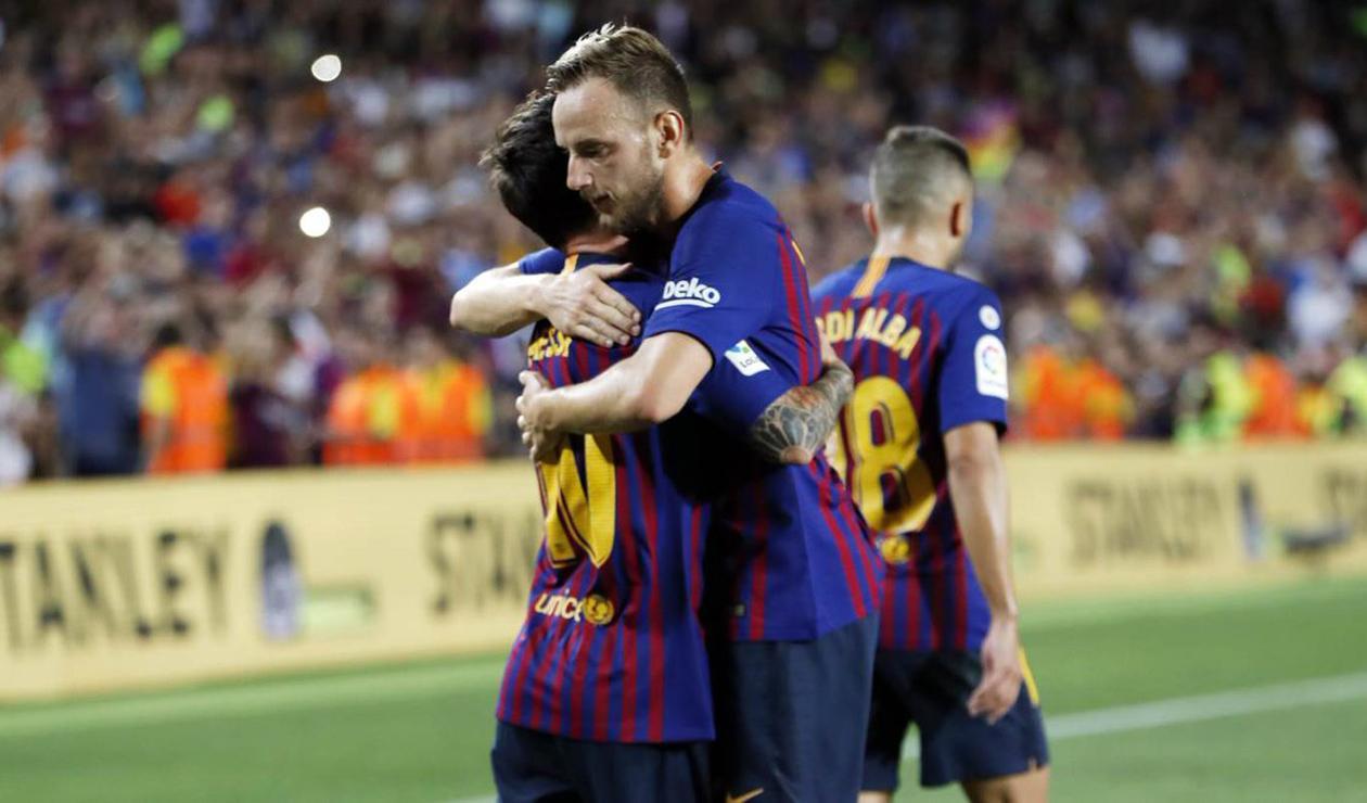 Lionel Messi e Ivan Rakitic, jugadores del Barcelona