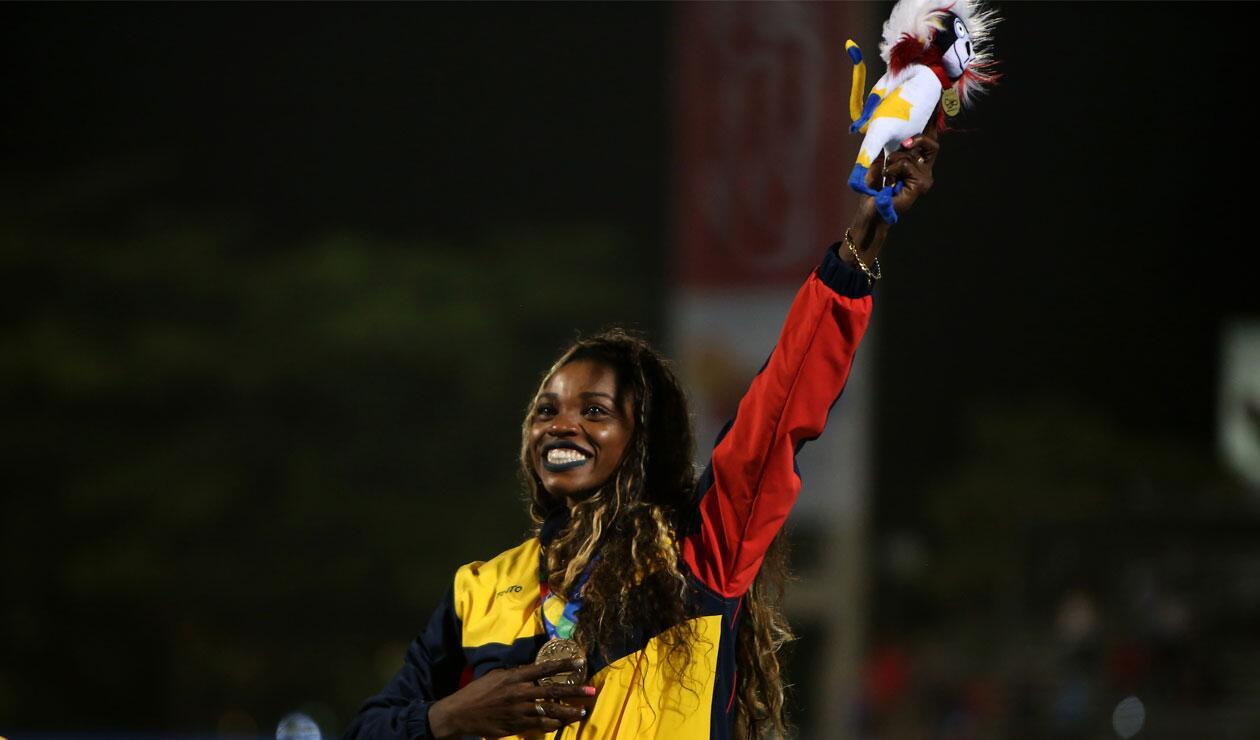 Caterine Ibargüen, ganadora del oro en el salto triple de los Juegos Centroamericanos y del Caribe Barranquilla 2018