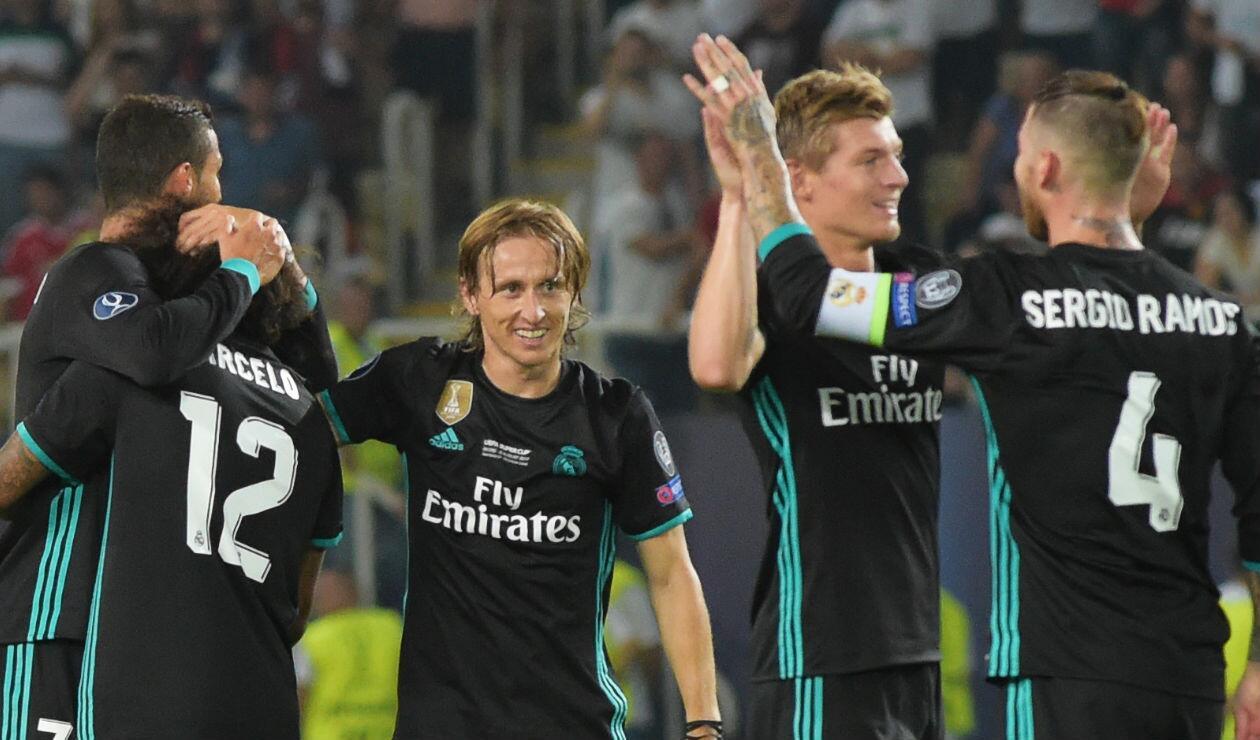 Luca Modric con el Real Madrid en la temporada 2017-2018