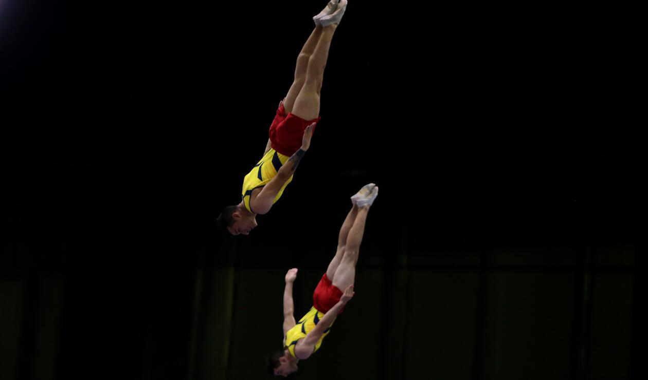 Juegos Centroamericanos y del Caribe Barranquilla 2018: Dos deportistas colombianos en la prueba de trampolín por parejas
