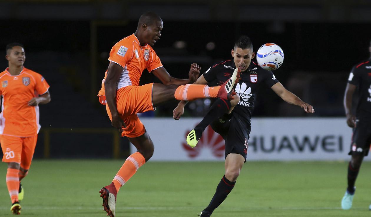 Jorge Aguirre, jugador de Santa Fe en el partido ante Envigado por la Copa Águila