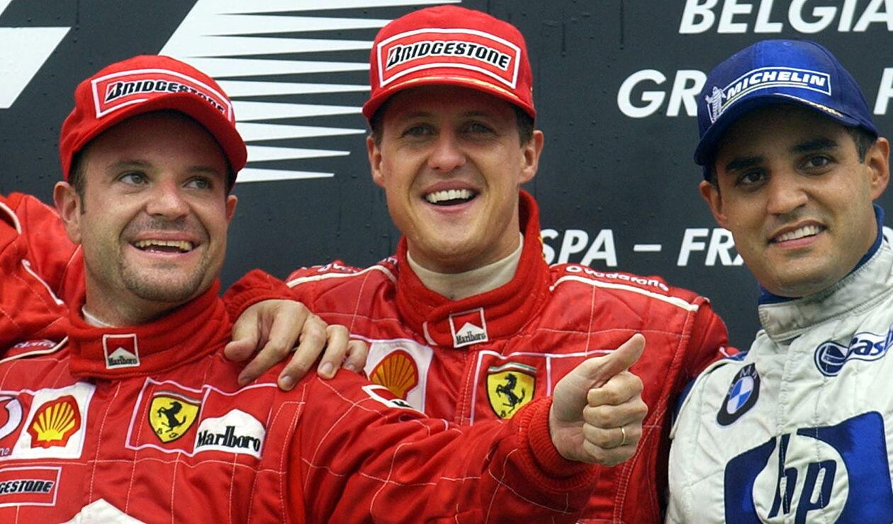 Michael Schumacher, Rubens Barrichello y Juan Pablo Montoya