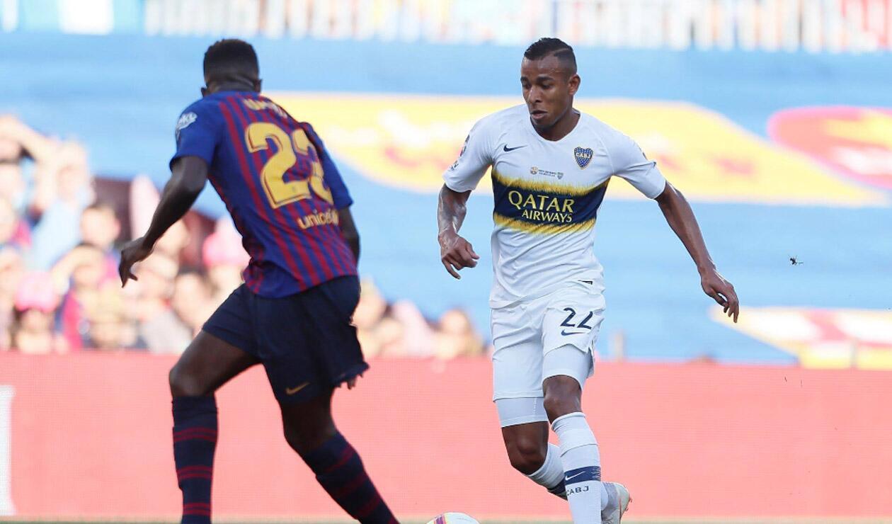 Sebastián Villa, el mejor colombiano de Boca ante el Barcelona