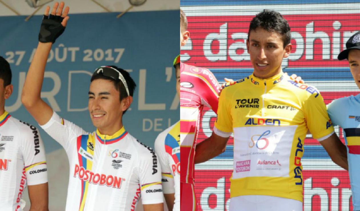 Iván Sosa y Egan Bernal, ciclistas colombianos
