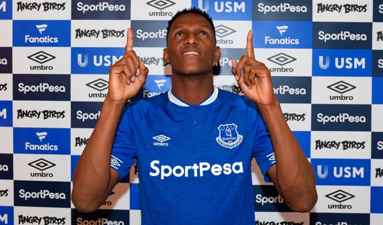 Yerry Mina durante su presentación como jugador del Everton