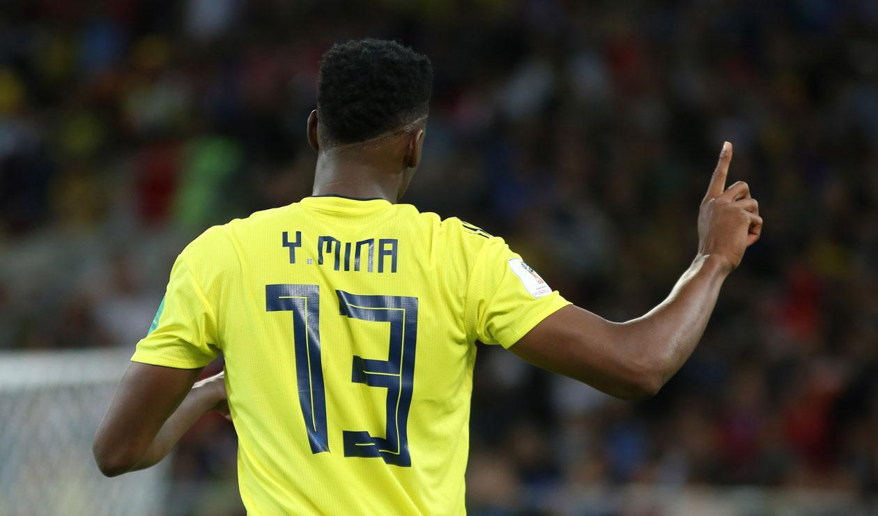 Yerry Mina celebrando el gol con la Selección Colombia ante Inglaterra en el Mundial