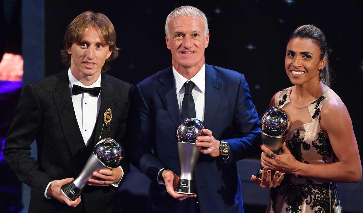 El croata Luka Modric, el francés Didier Deschamps y la brasileña Martha, los grandes ganadores en la gala de los premios The Best organizada por la FIFA