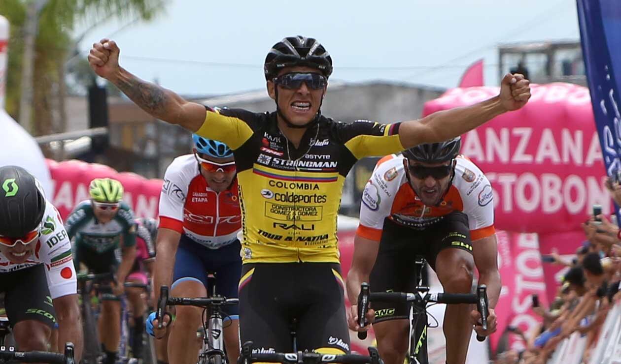Óscar Quiroz luego de ganar la segunda etapa del Clásico RCN 2018