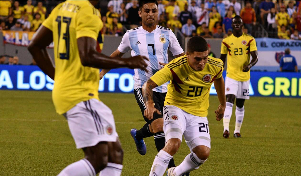 Juan Fernando Quintero, uno de los hombres destacados del partido de Colombia ante Argentina
