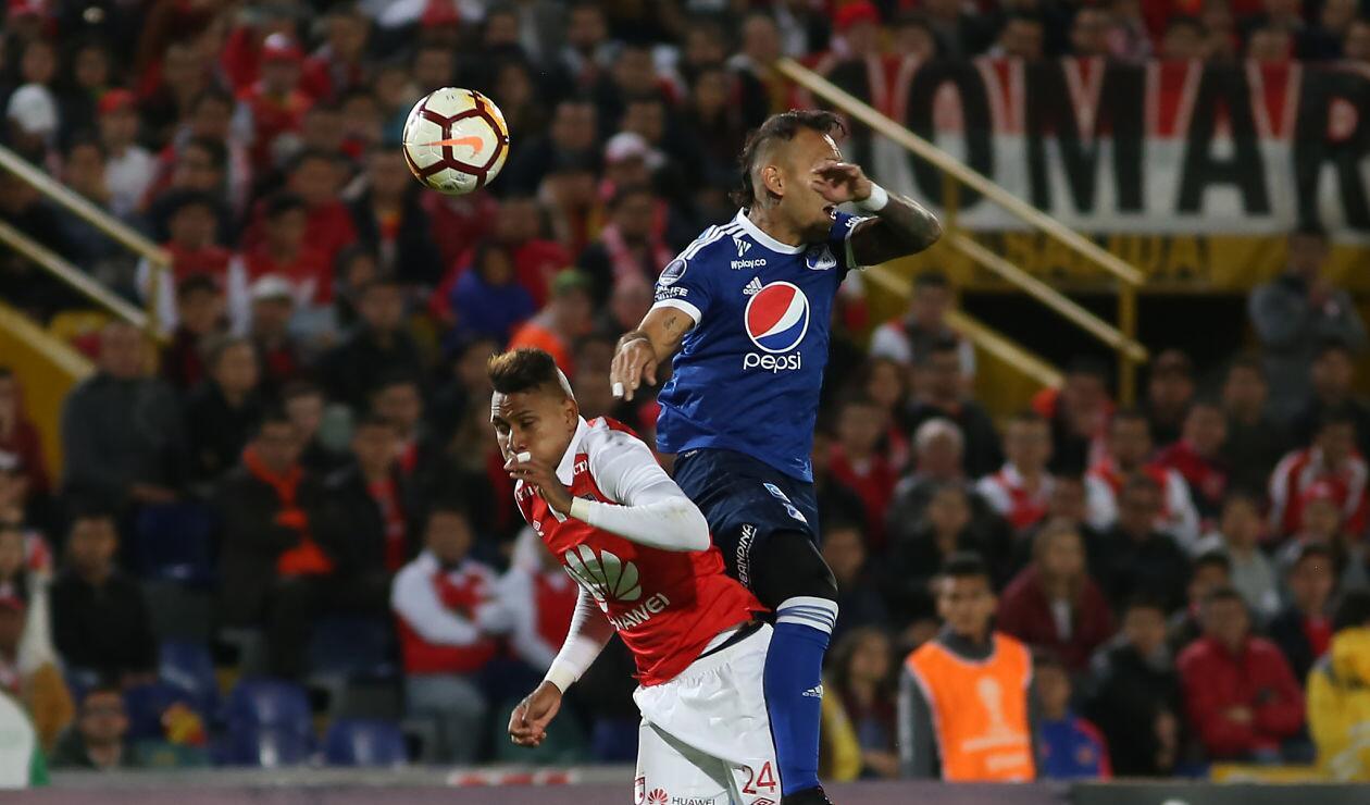 Millonarios terminó jugando con diez hombres ante Independiente Santa Fe