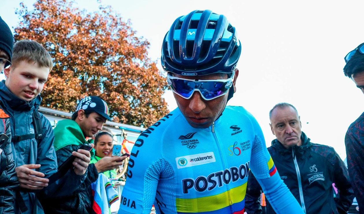 Nairo Quintana durante la prueba élite en el mundial de ciclismo de Austria 2018