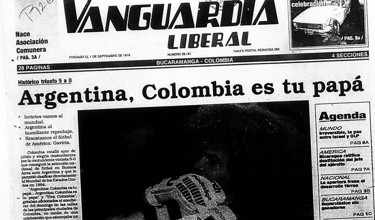 Portada del diario Vanguardia Liberal el 6 de septiembre de 1993