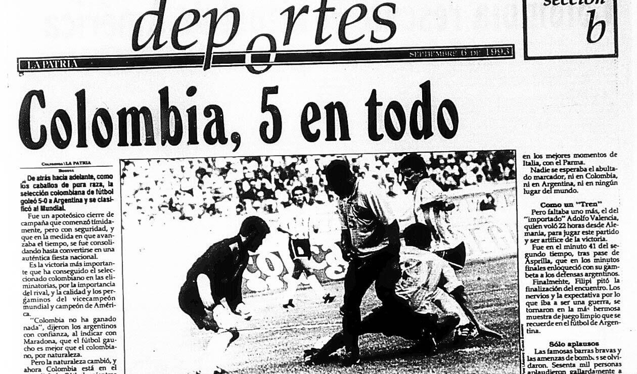 El diario La Patria y las reacciones por el triunfo de Colombia ante Argentina 5-0