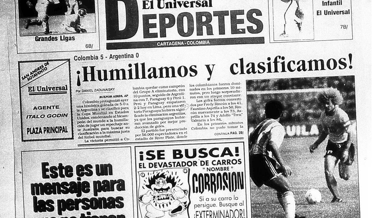 El diario El Universal y las reacciones por el triunfo de Colombia ante Argentina 5-0