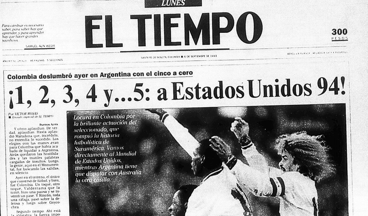 Portada del diario El Tiempo el 6 de septiembre de 1993