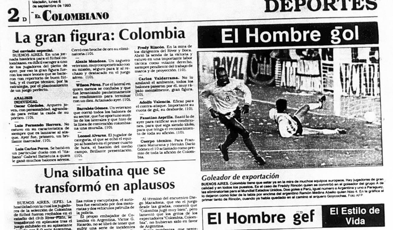 El diario El Colombiano y las reacciones por el triunfo de Colombia ante Argentina 5-