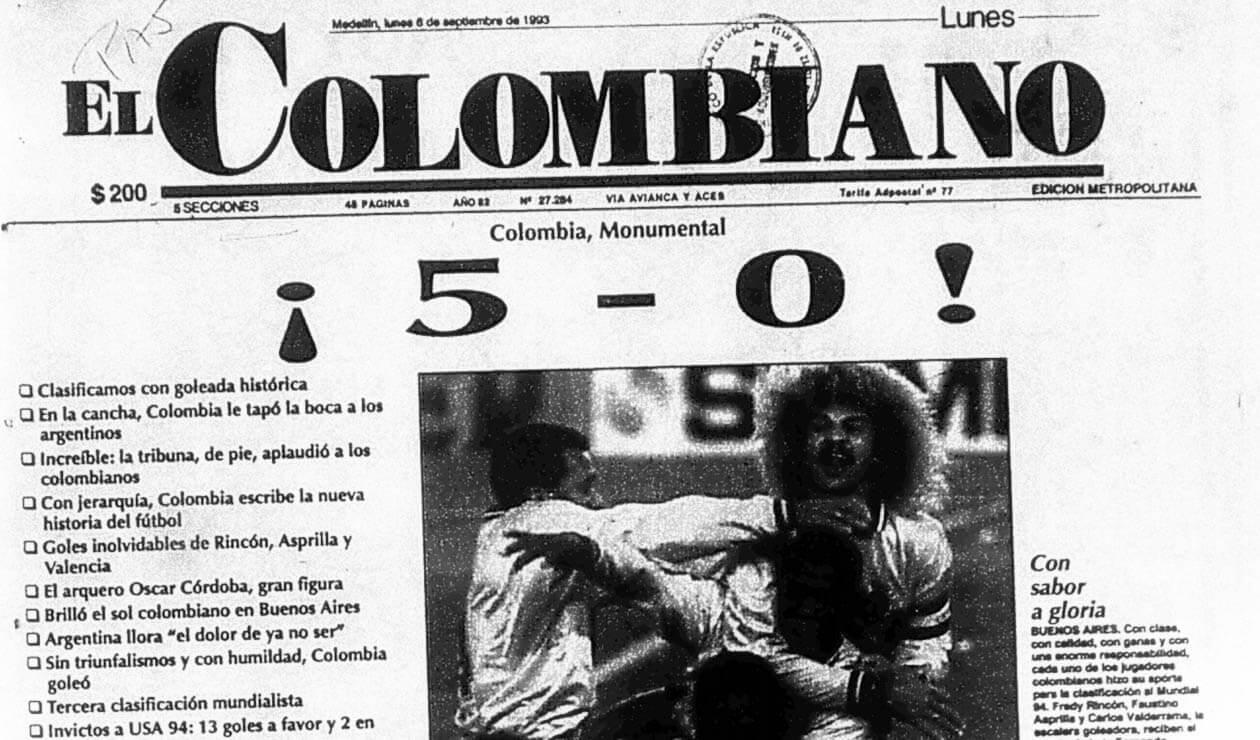 Portada del diario El Colombiano el 6 de septiembre de 1993
