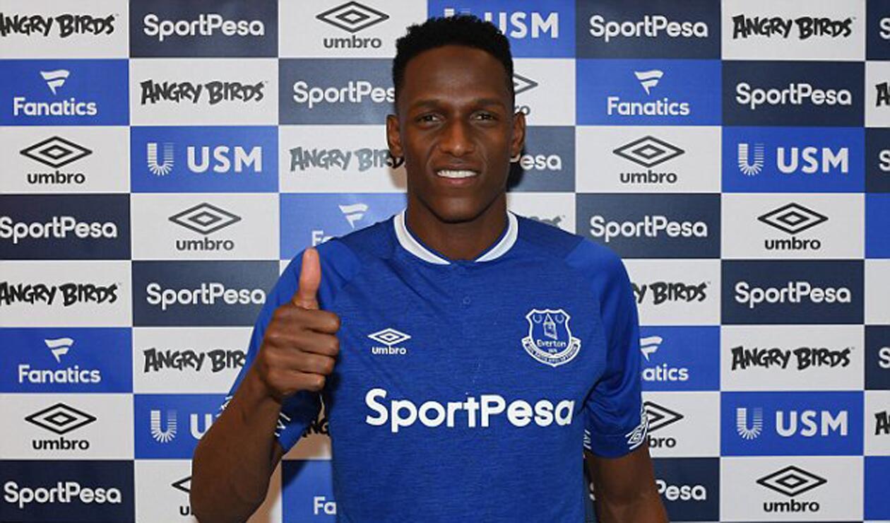Yerry Mina en su presentación con Everton
