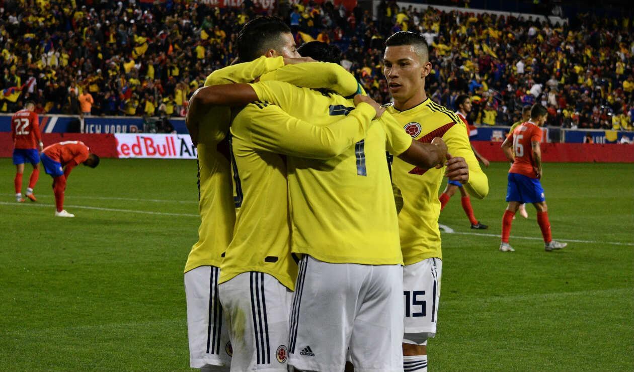 Colombia celebrando uno de los goles ante Costa Rica