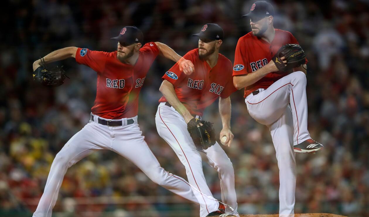 Chris Sale # 41 de los Medias Rojas de Boston ofrece un lanzamiento contra los Yankees de Nueva York.