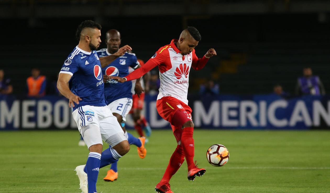 Santa Fe intentó más en la ofensiva ante un confuso Millonarios · Copa Sudamericana 2018