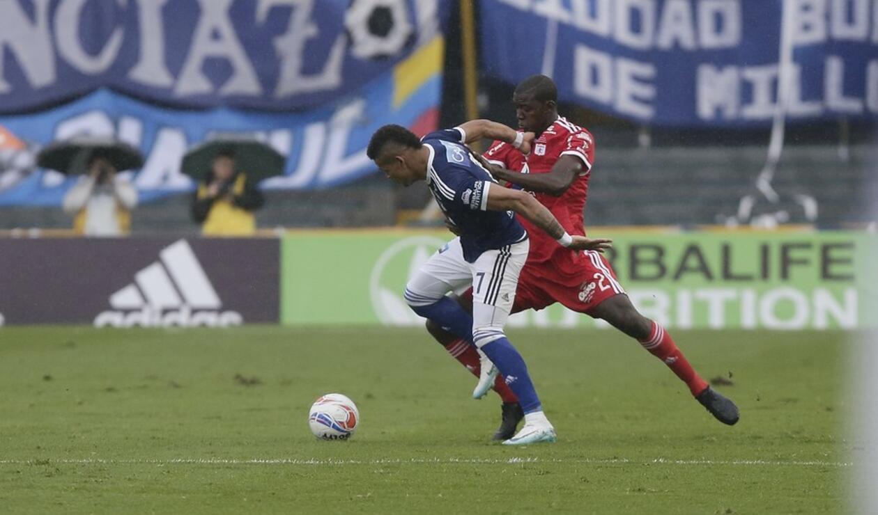 Ayron del Valle y Danilo Arboleda en el juego Millonarios vs América