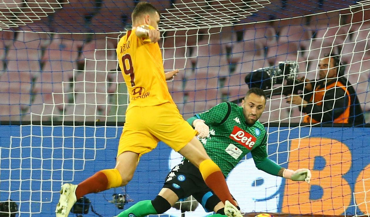 David Ospina y Edin Dzeko - Napoli vs Roma