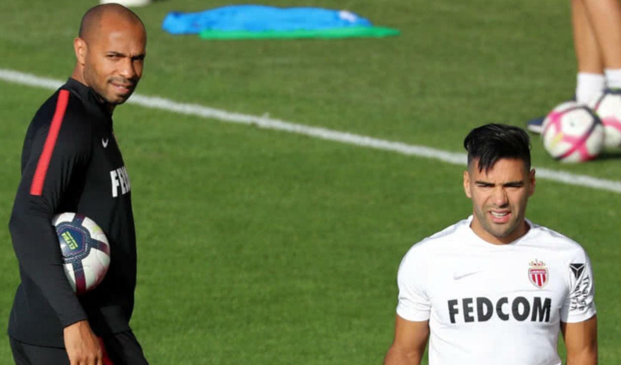Thierry Henry y Falcao en un entrenamiento del Mónaco
