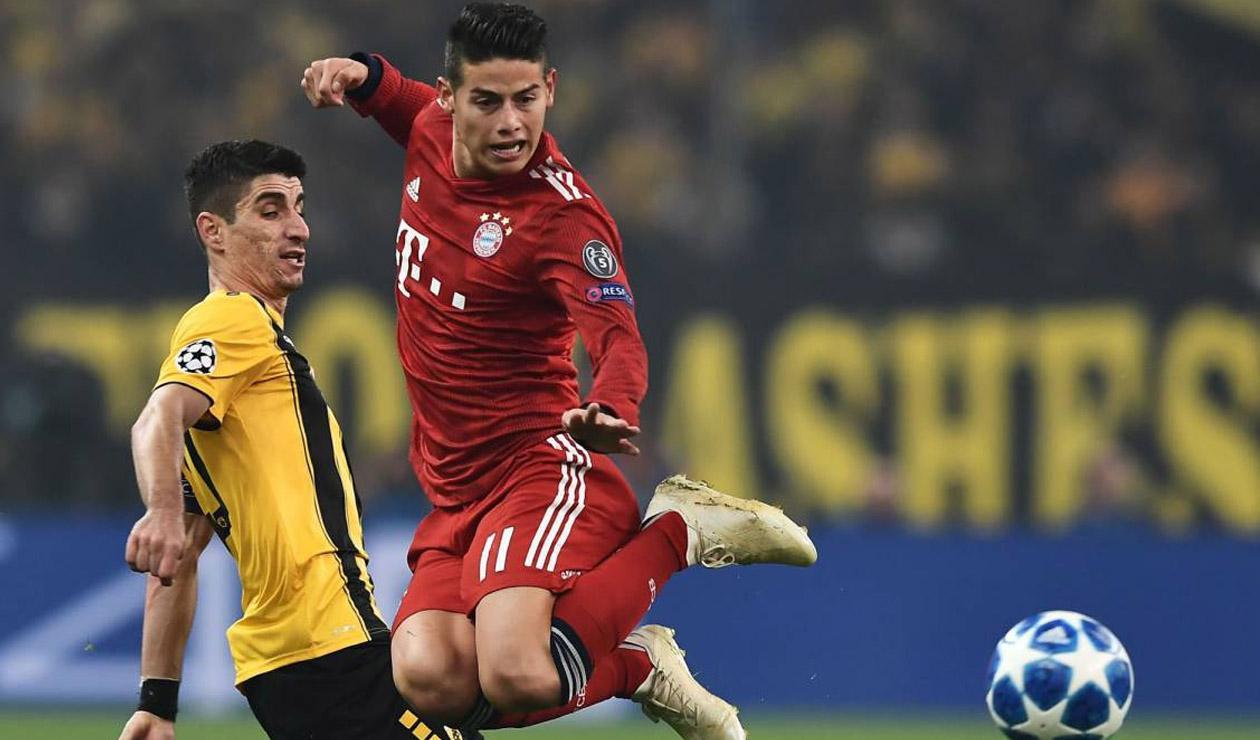 James Rodríguez jugando con el Bayern Múnich