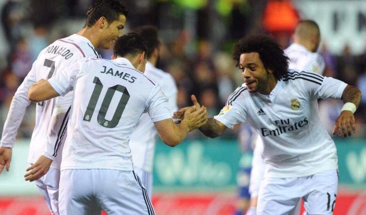Cristiano, James y Marcelo celebrando un gol en el Real Madrid