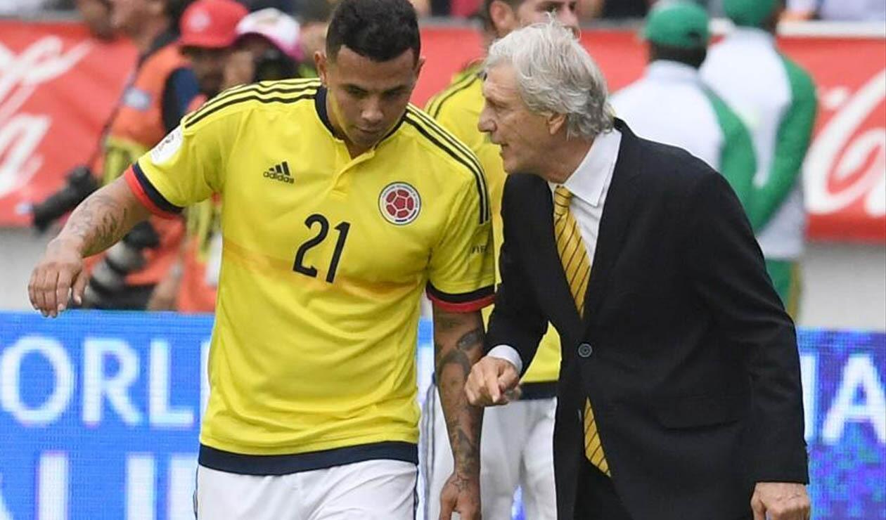 Edwin Cardona y José Pékerman en la Selección Colombia