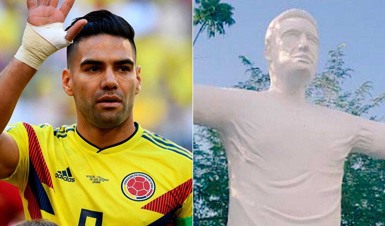 La estatua Falcao que levantaron en la ciudad de Santa Marta