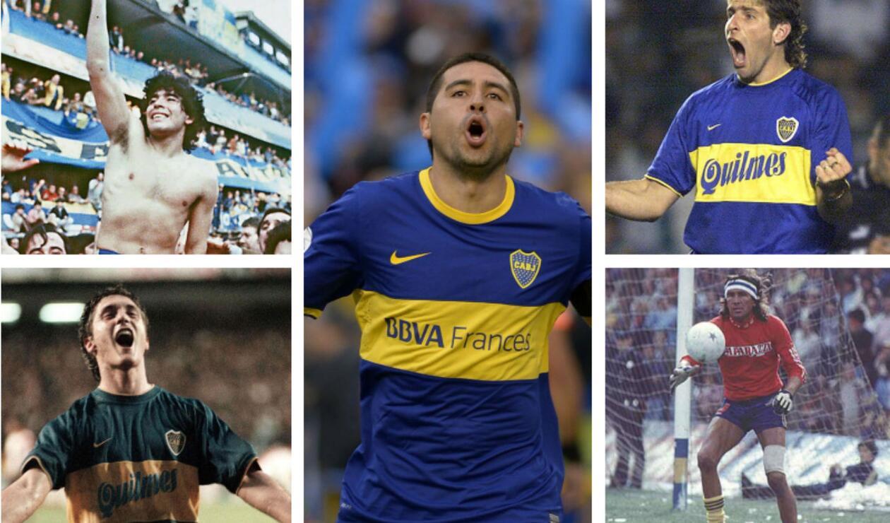 Los jugadores históricos de Boca Juniors.