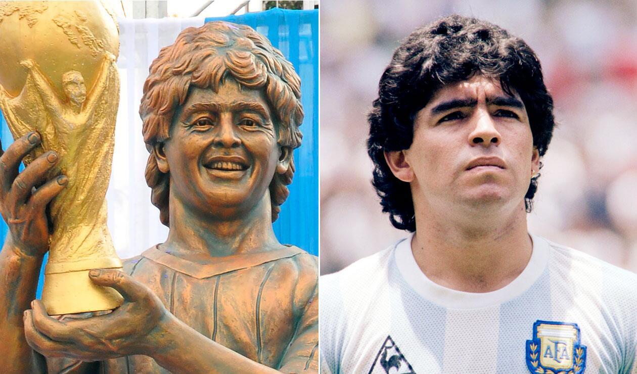 La estatua de Maradona levantada en una ciudad de la India
